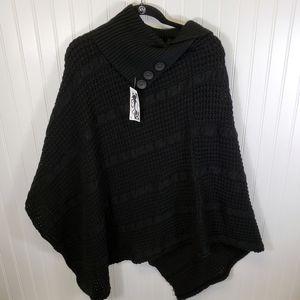 Black Knit Poncho